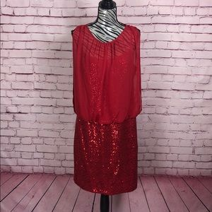 Red Hot Sequin Dress - Size 14